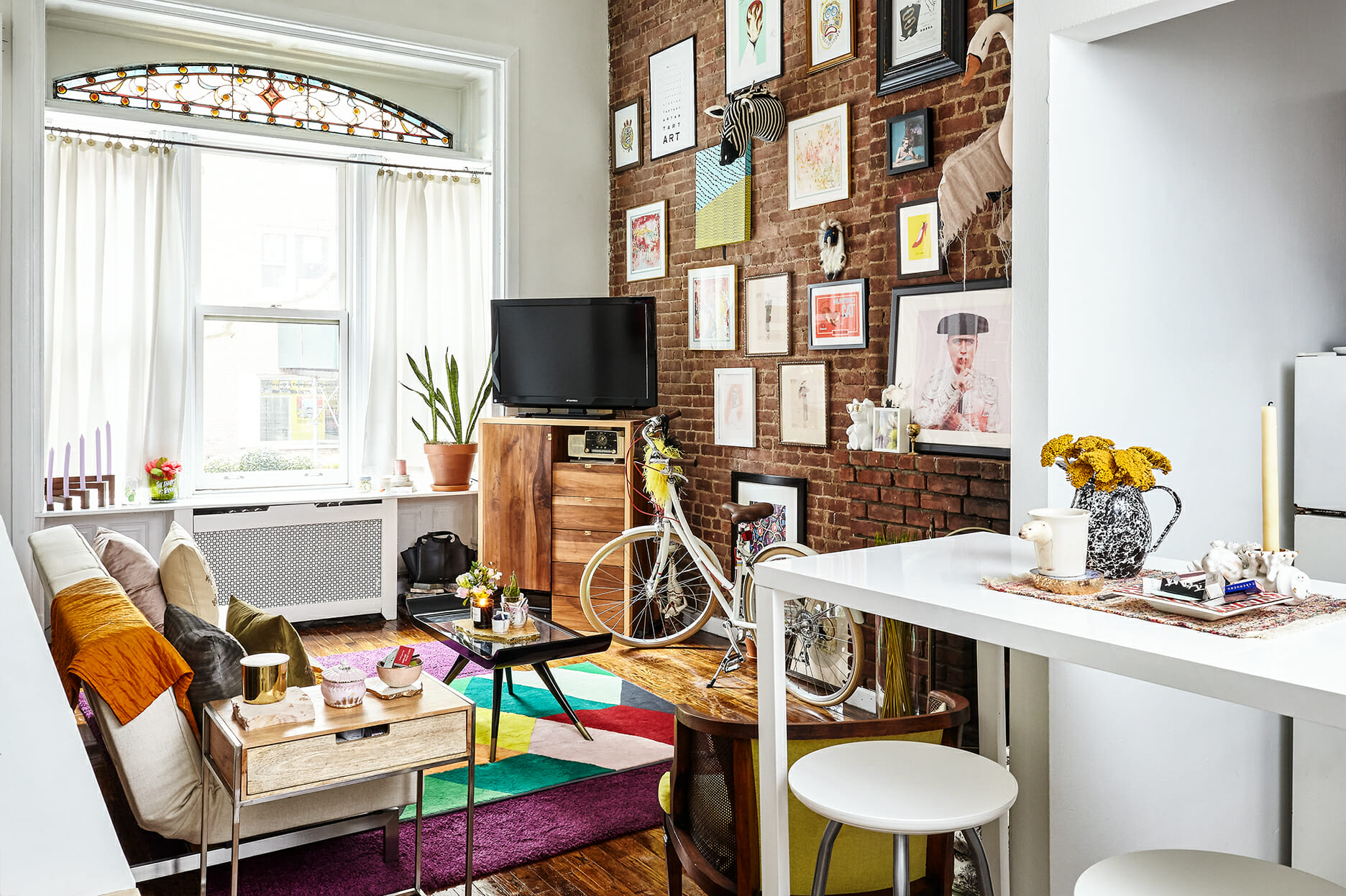 A Colorful Upper West Side Studio With a Lofted Bed