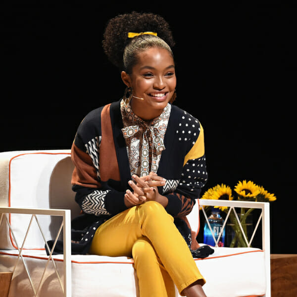Actor and activist Yara Shahidi speaks onstage during The Tory Burch Foundation 2018 Embrace Ambition Summit