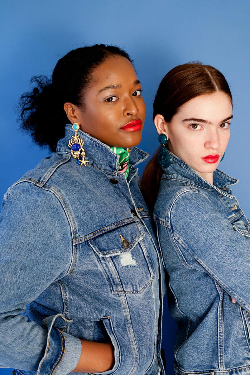 Models wear big earrings