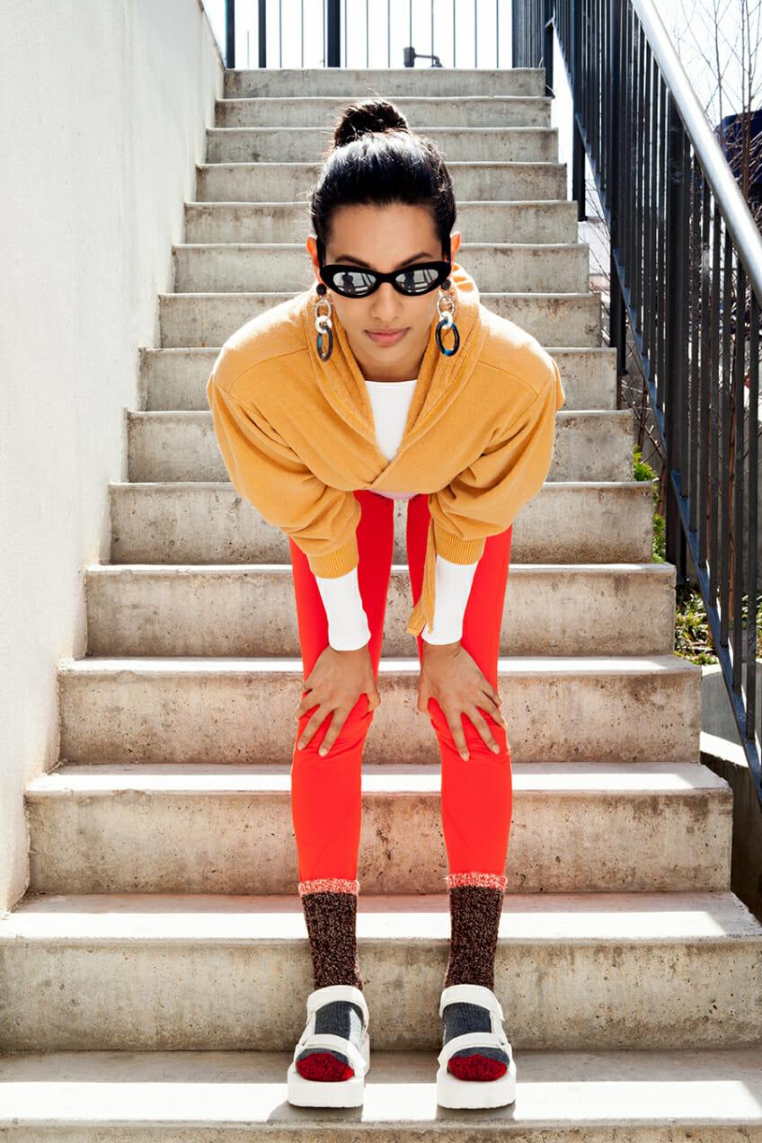 Model Alisha Bansal wears Free People Activewear