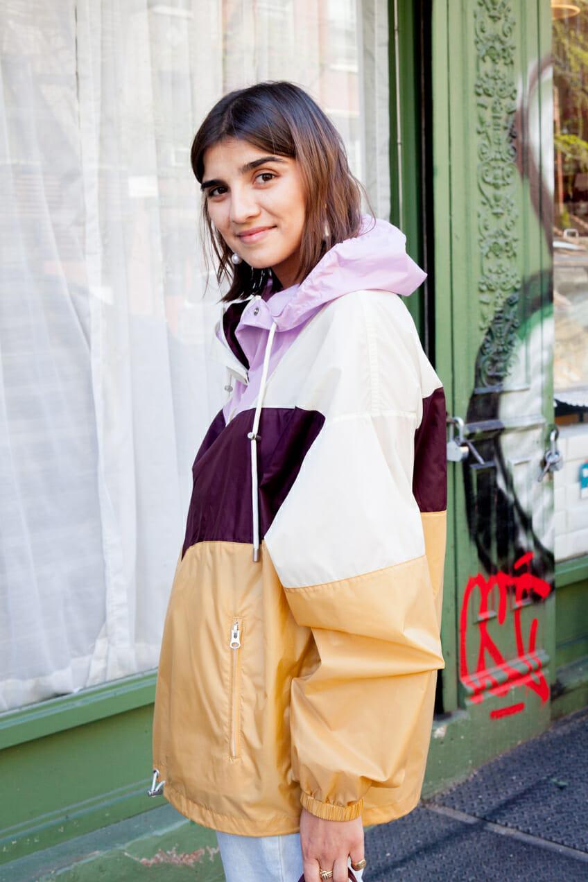 Juliana Salazar wears a windbreaker by Isabel Marant.