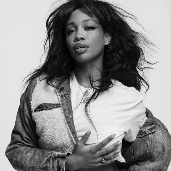 SZA poses for stylist Karla Welch's new collaboration with Levi's.