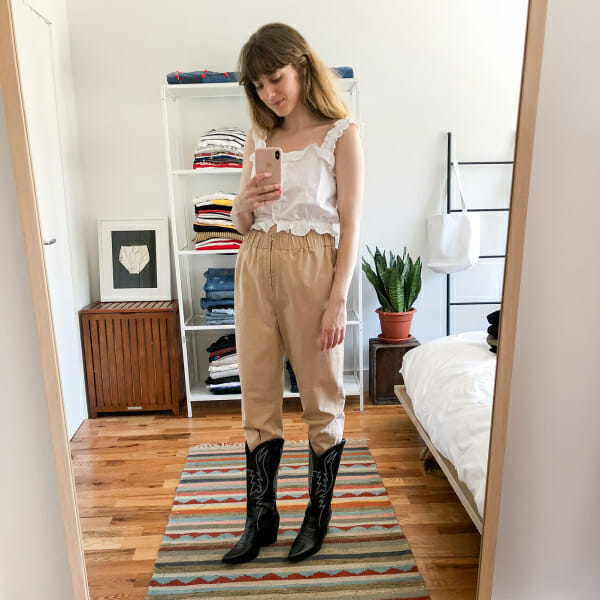 Writer Haley Nahman tries on a pair of trousers.