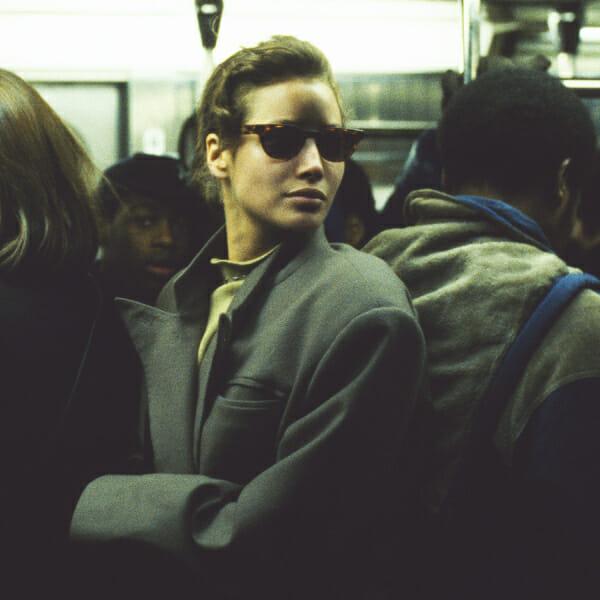 woman on crowded subway
