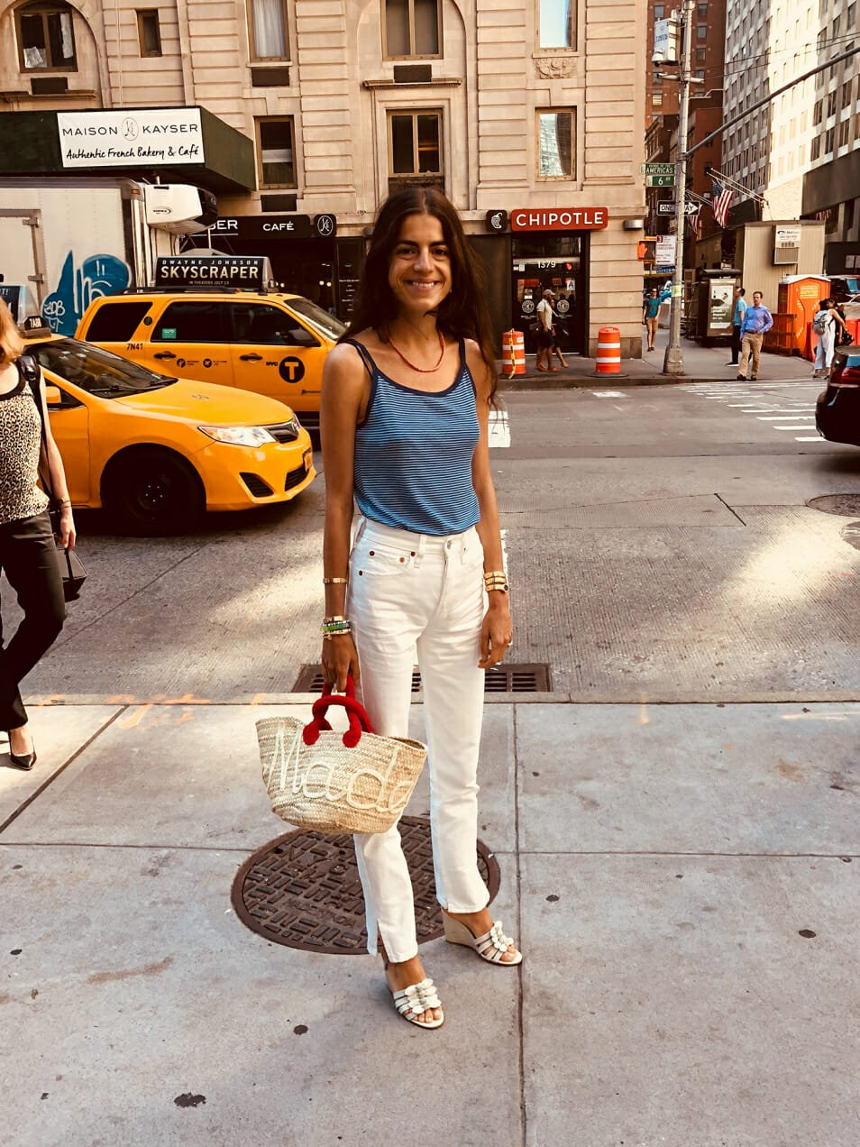Leandra Medine Cohen styles her own version of jeans and a t-shirt.