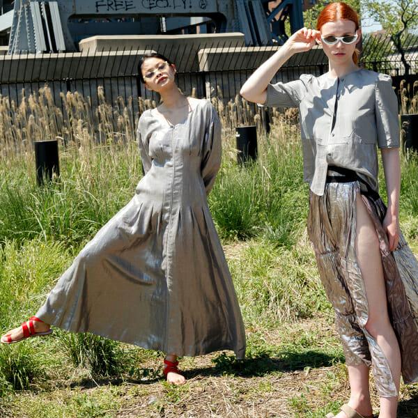 Two models dress like aliens