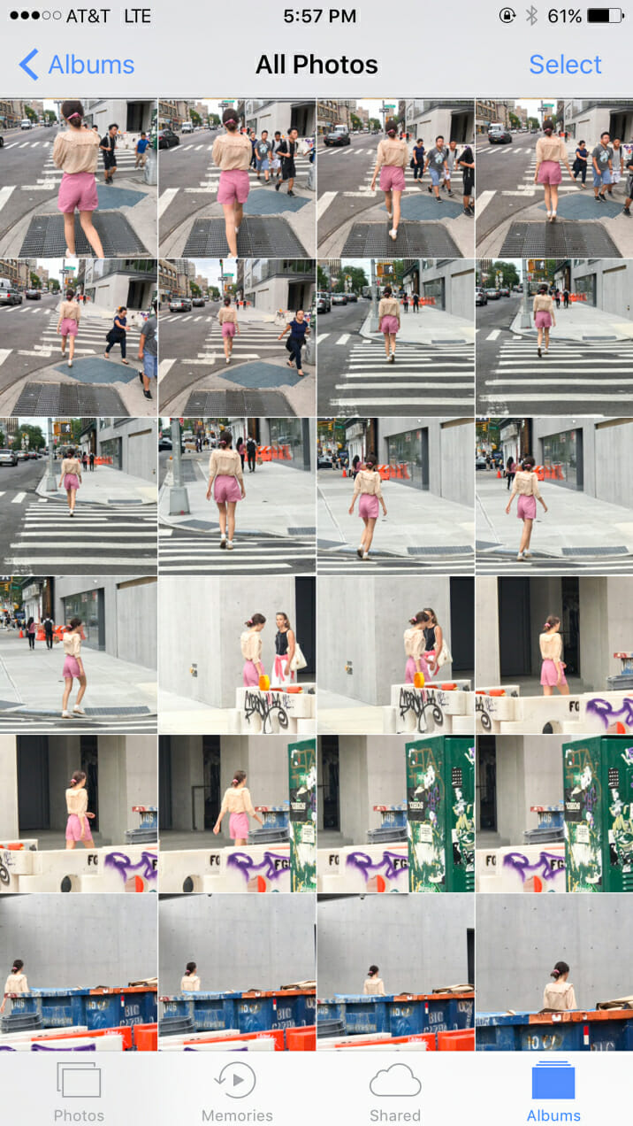 The problem with people watching happens when we start to film people on the street.