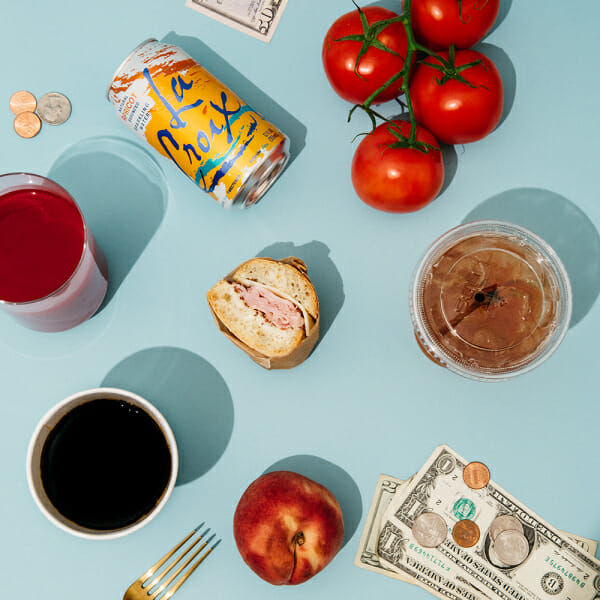 money diary peach coffee lacroix tomatoes iced tea