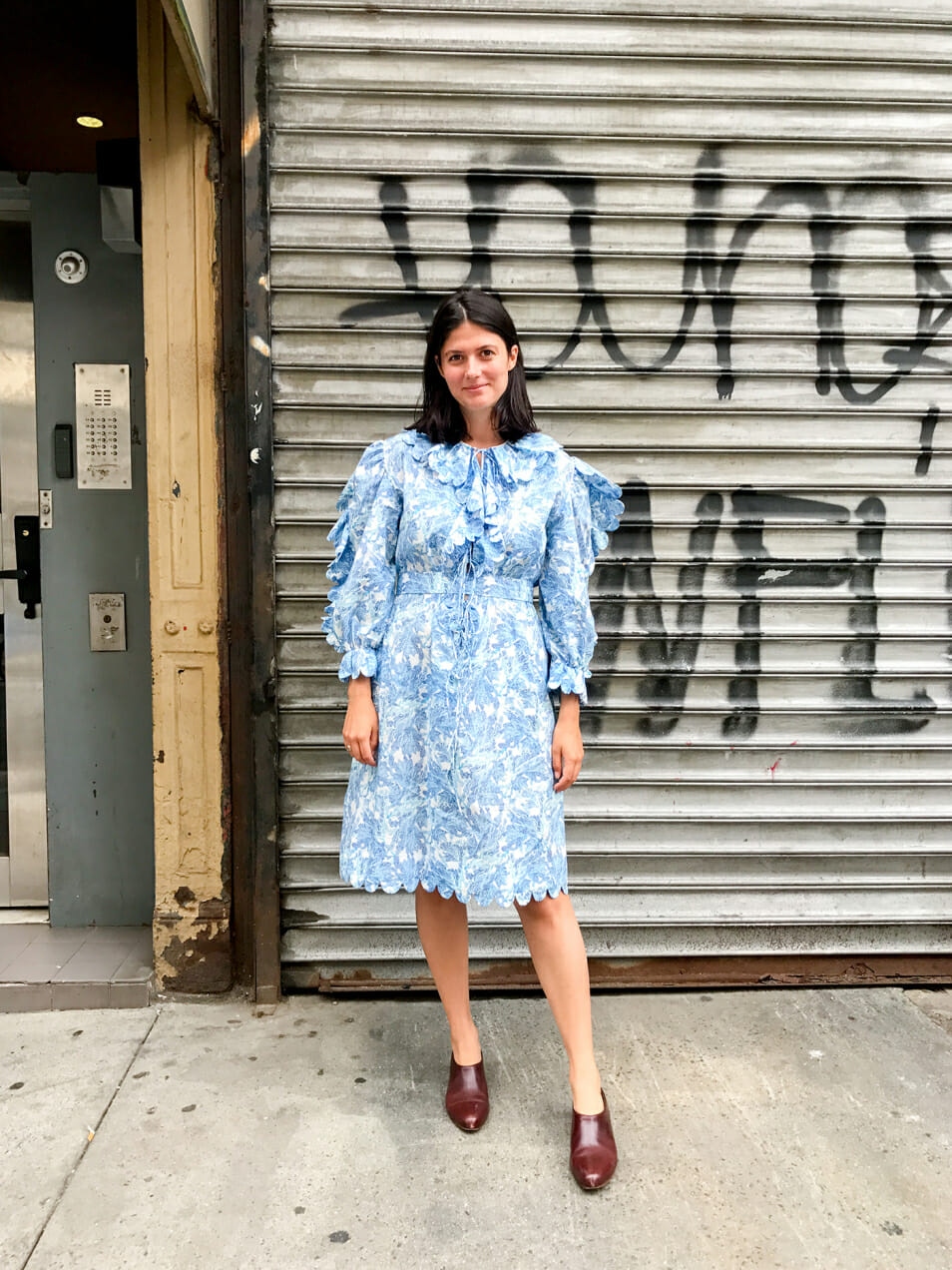 Edith gets dressed and wears Horror Vacui for Man Repeller's series Office Apropos.