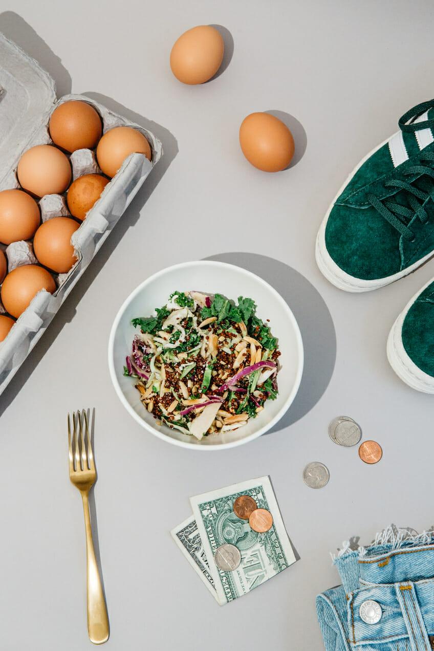salad quinoa adidas sneakers jeans eggs money diary