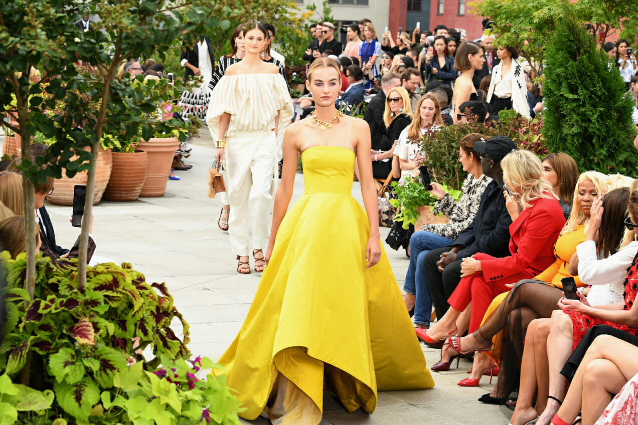 Amelia Diamond's day in the life of fashion week featuring Oscar de la Renta's Spring '19 show and a yellow dress