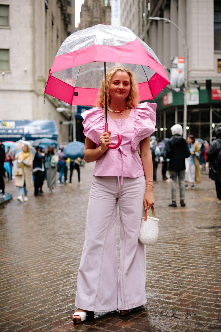 harling fashion week pink top lilac pants