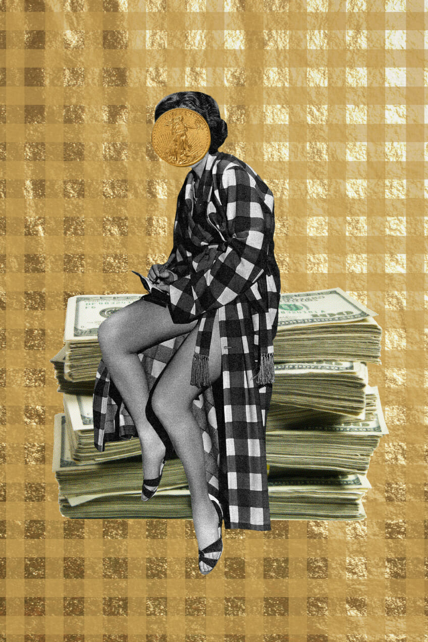 coin money investment gold plaid coat collage