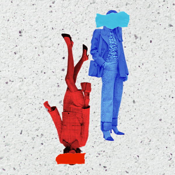 red blue woman paper texture