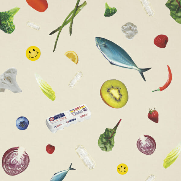 vitamins fruits vegetables fish eggs collage