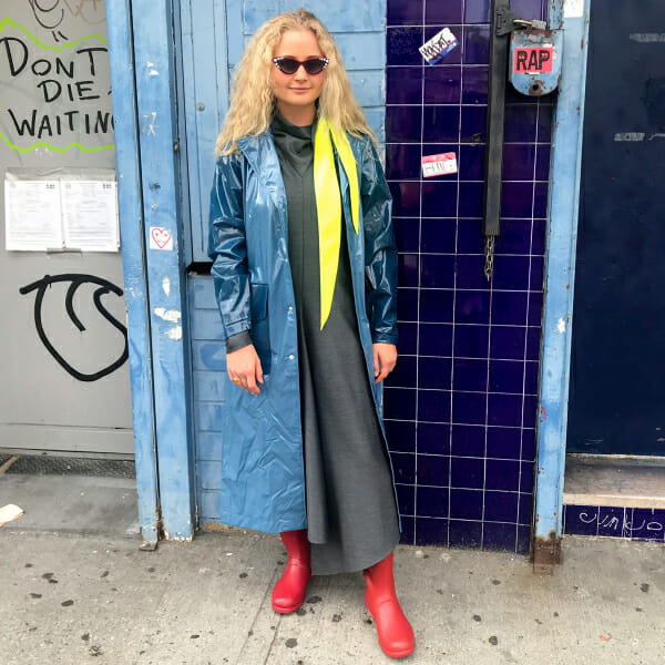 Harling is a fashion editor and learning how to get dressed in the rain