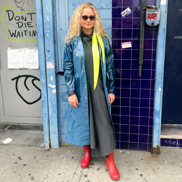 Harling is a fashion editor and learning how to get dressed for rain