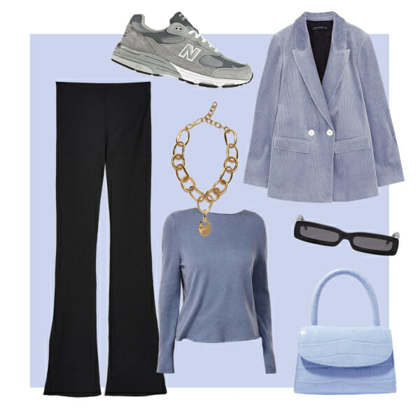 zara blazer by far bag new balance sneakers lizzie fortunado necklace reformation sweater topshop pants small sunglasses