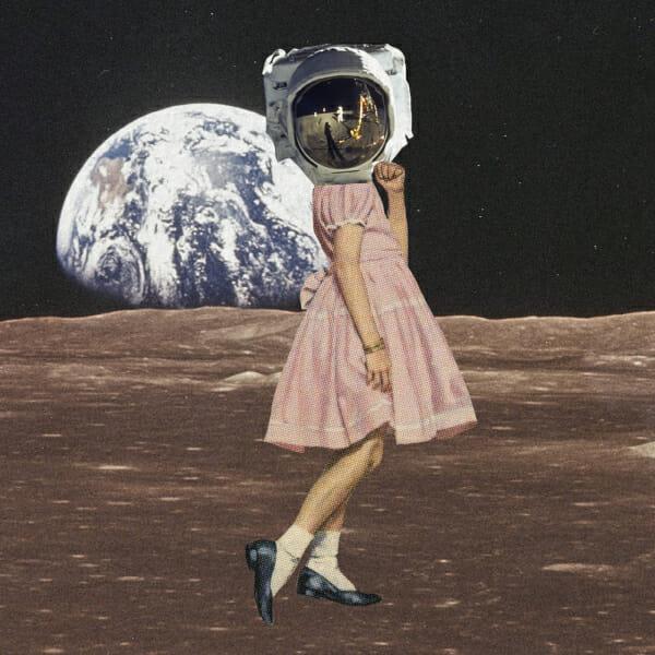 girl pink dress astronaut moon