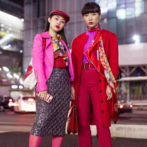 red coat pink top magenta tokyo street style