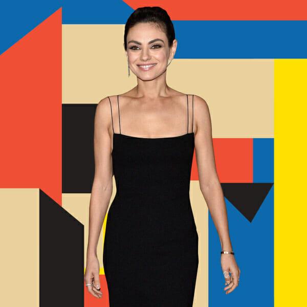 mila kunis little black dress