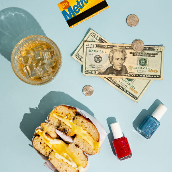 egg cheese bagel essie nail polish money metro card