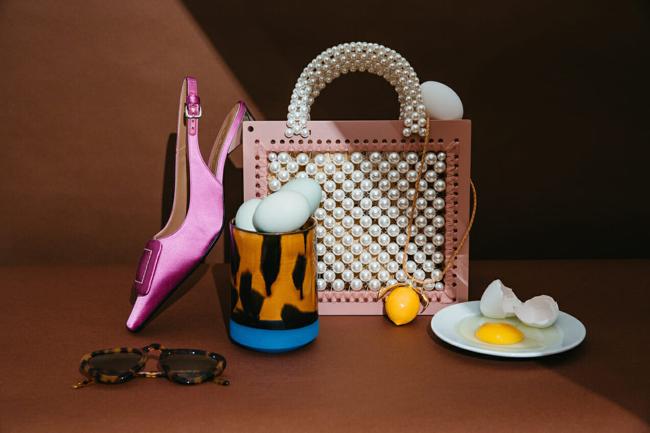 eggs tumbler pearl bag man repeller unibrow sunglasses marni fuschia heels lemon tory burch
