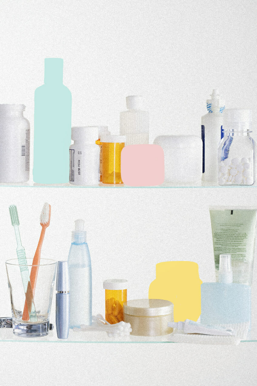 skincare products beauty shelf