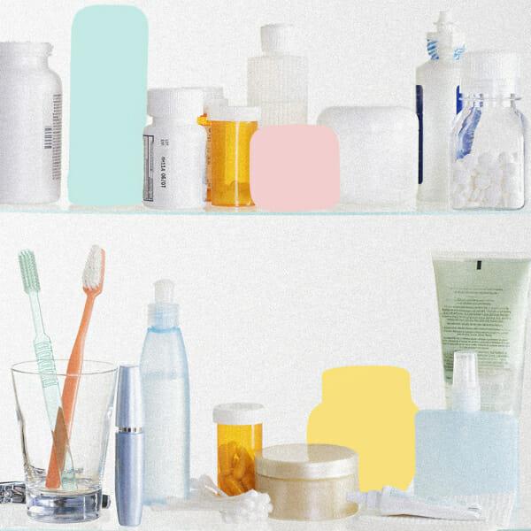 skincare products beauty shelf