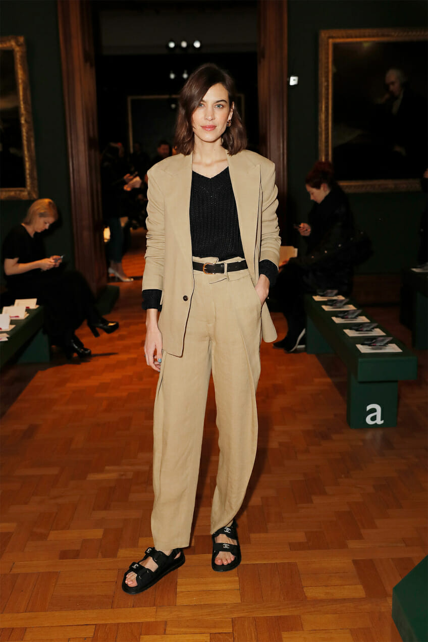 alexa chung celebrity look of the week chunky sandals in winter man repeller