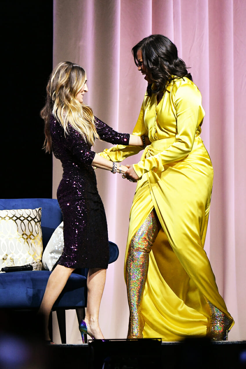 michelle obama sparkle thigh high boots yellow dress