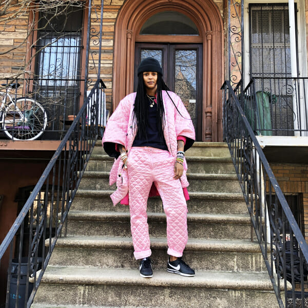 crystal anderson jamal studios pink quilted suit