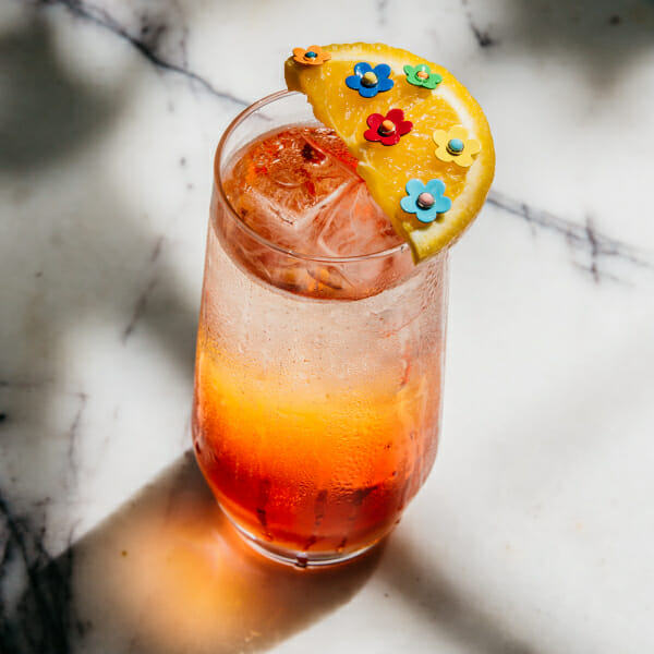 earrings cocktail drink flower studs