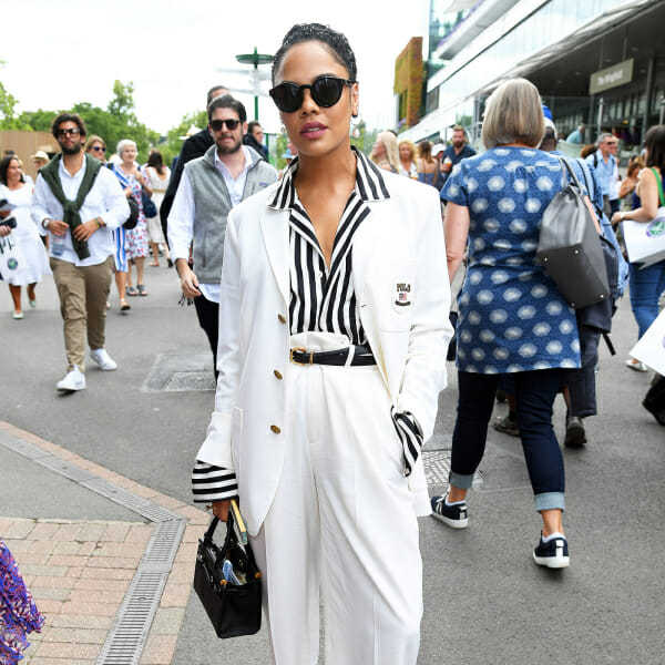 tessa thompson outfit wimbledon man repeller