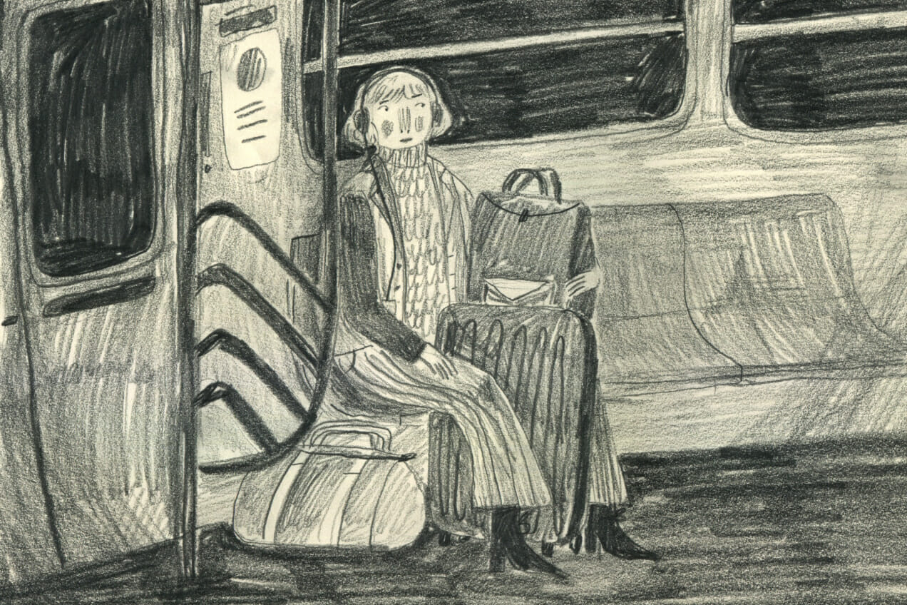 Illustration of girl sitting on subway by Molley May