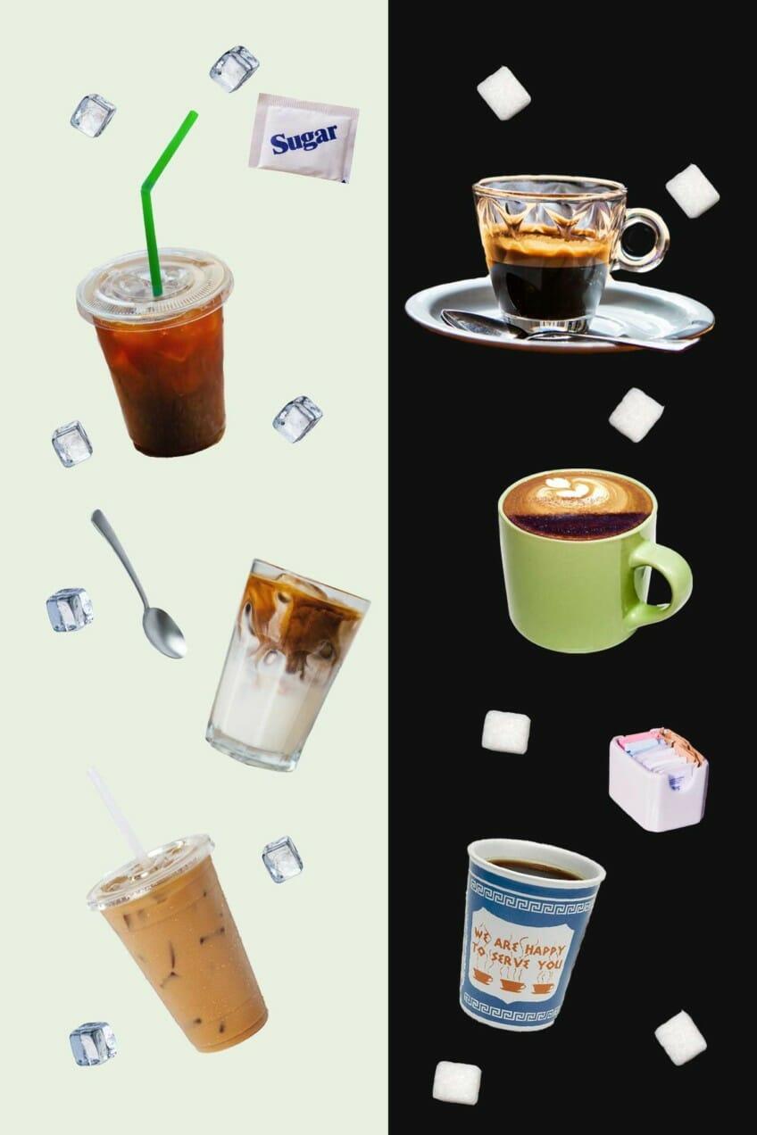hot coffee vs cold coffee graphic