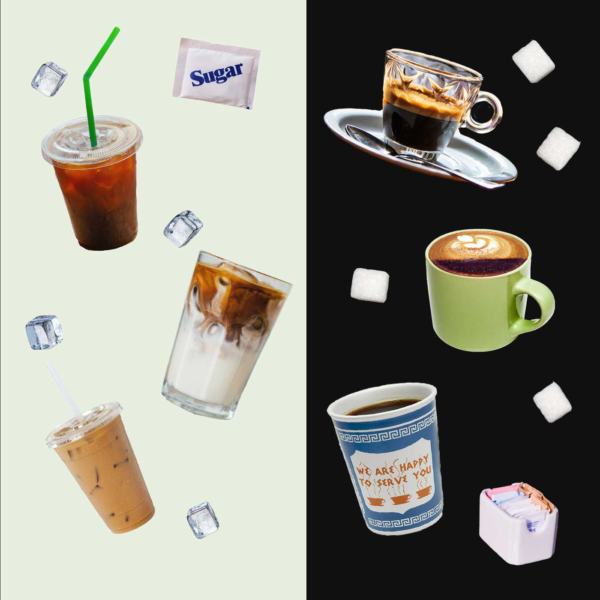 hot coffee vs cold coffee collage